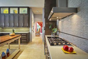 "Contemporary Kitchen with Broan 36"" range hood, Hardwood floors, Daltile kinetic khaki f166, Shaker style cabinets"