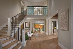 Contemporary Entryway with Loft, High ceiling, Hardwood floors, Birch - Praline 5 in. Engineered Hardwood Wide Plank