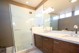 Contemporary Master Bathroom with frameless showerdoor, can lights, partial backsplash, European Cabinets, Shower, Flush