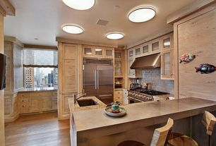 Rustic Kitchen with Copper counters, Glass panel, picture window, full backsplash, Inset cabinets, Hardwood floors, U-shaped