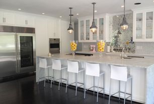 Contemporary Kitchen with Cb2 phoenix ivory bar stools, Glass panel, Tilebar enchanted grecian marble and glass tile, Quartz