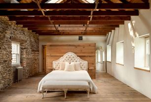 Rustic Master Bedroom with Cathedral ceiling, Pendant light, Hardwood floors, Safavieh Arebelle Tufted Headboard