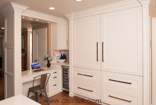 Traditional Kitchen with L-shaped, specialty door, Inset cabinets, Flat panel cabinets, Specialty Tile, Crown molding