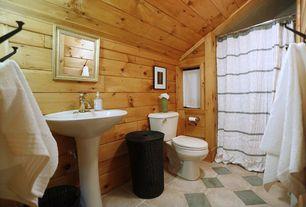Rustic 3/4 Bathroom with limestone tile floors, West Elm Stripe Shower Curtain, Wood paneling, Pedestal sink, Towel hanger
