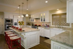Country Kitchen with Farmhouse sink, Flush, Architecture granite & marble giallo ornamental, Stone Tile, Breakfast bar