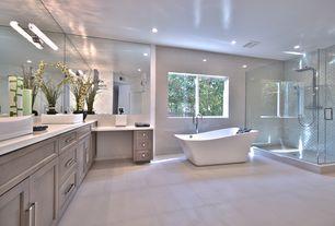 Contemporary Master Bathroom with Freestanding, frameless showerdoor, Flush, Diamond White, Quartz by Arizona Tile, Limestone
