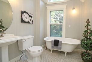 Cottage Full Bathroom with penny tile floors, Pedestal sink, Clawfoot, Wall sconce