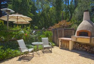 Eclectic Patio with outdoor pizza oven, Gate, Fence