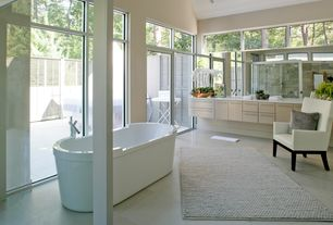 Contemporary Master Bathroom with framed showerdoor, Simple marble counters, Shower, Master bathroom, Double sink, Bathtub