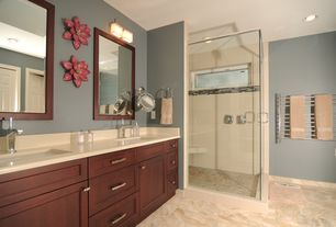 Transitional Master Bathroom with Corian counters, Pental Quartz, Undermount sink, Master bathroom, Flat panel cabinets