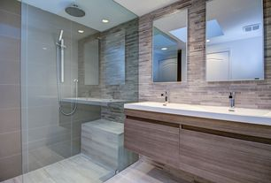 Contemporary Master Bathroom with frameless showerdoor, specialty door, Pentalquartz thassos bq 100, Corian counters