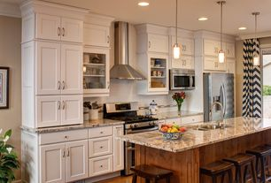 Traditional Kitchen with Breakfast bar, American heritage bar stool - finish: walnut, Pendant light, Undermount sink