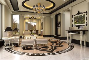 Art Deco Living Room with Crown molding, simple marble floors, Chandelier, Standard height, can lights, picture window