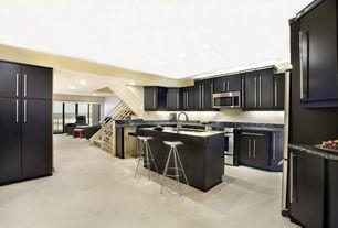 Modern Kitchen with Standard height, Complex Granite, U-shaped, Kitchen island, gas range, Complex granite counters, Flush