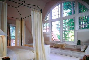 Traditional Master Bedroom with Carpet, Window seat, Standard height, Arched window, Casement