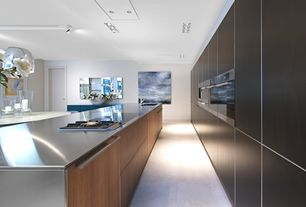 Contemporary Kitchen with electric cooktop, Breakfast nook, Kitchen island, flush light, double wall oven, can lights, Flush