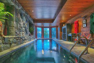Rustic Swimming Pool with exterior tile floors, Bay window, Indoor pool