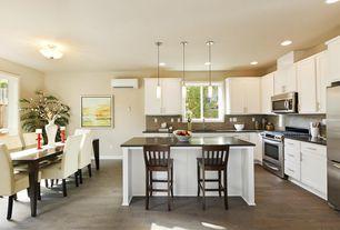 Modern Kitchen with L-shaped, built-in microwave, Multiple Refrigerators, dishwasher, Standard height, full backsplash