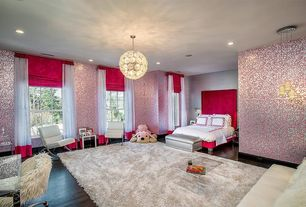 Eclectic Kids Bedroom with Chandelier, Wall sconce, Pendant light, interior wallpaper, Hardwood floors