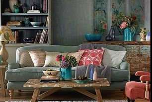 Eclectic Living Room with Built-in bookshelf, Ballard Design Spencer Sofa, Antique Plank Farmhouse Coffee Table/Bench