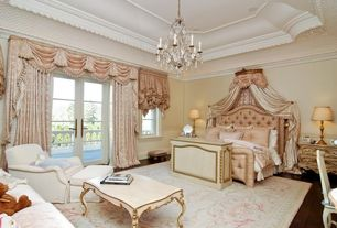 Traditional Master Bedroom with Wainscotting, French doors, can lights, Chandelier, Casement, Hardwood floors, Crown molding