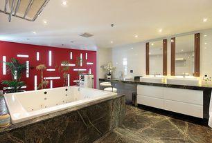 Modern Master Bathroom with Ms International Golden Fantasy Granite, Built-in bookshelf, quartz floors
