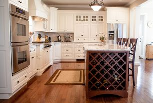 Traditional Kitchen with Slate Tile, L-shaped, Crown molding, Simple granite counters, Pottery barn aaron barstool