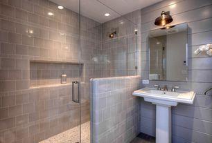 Contemporary Full Bathroom with Pedestal sink, frameless showerdoor, Restoration hardware vintage barn sconce