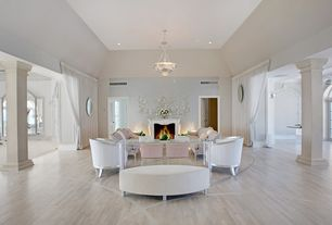 Contemporary Living Room with Fine Art Lamps Crystal Laurel Inverted Pendant, Laminate floors, High ceiling, Chandelier
