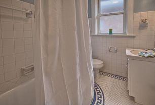 Traditional Full Bathroom with Undermount sink, High ceiling, penny tile floors, flush light