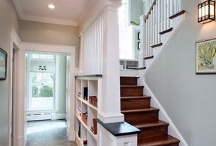 Traditional Staircase with Custom Built-In Shelves, Hardwood floors, High ceiling, Arroyo craftsman pendant light