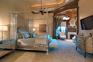 Traditional Master Bedroom with Carpet, Ceiling fan, Wall sconce, Cement fireplace, High ceiling, Amelie mirrored hall chest
