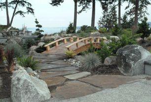 Asian Landscape/Yard with Gold Rush Quartzite Flagstone, Rock landscaping, Vail Weathered Granite, Wood bridge, Pathway