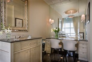 Art Deco Powder Room with Uttermost Seymour Wall Mirror, Wall sconce, Powder room, Flush, flush light, European Cabinets
