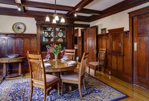 Craftsman Dining Room with Box ceiling, Crown molding, Built-in bookshelf, Hardwood floors, Wainscotting, flush light