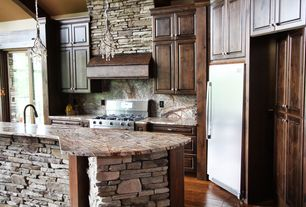 Rustic Kitchen with Onyx counters, Raised panel, Built In Refrigerator, Onyx, Standard height, Framed Partial Panel, L-shaped