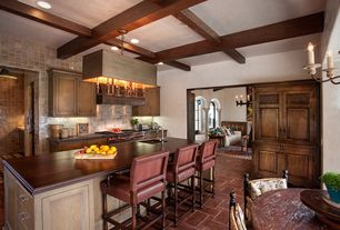 Craftsman Kitchen with Wood counters, Chandelier, Box ceiling, Undermount sink, Breakfast nook, Custom hood, Stone Tile