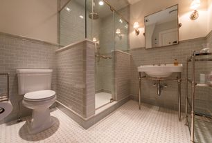Contemporary 3/4 Bathroom with three quarter bath, Wall sconce, Wall Tiles, specialty door, framed showerdoor, can lights