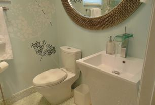 Contemporary Powder Room with picture window, Undermount sink, Standard height, ceramic tile floors, Powder room