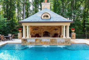 Traditional Swimming Pool with Fence, outdoor pizza oven, exterior stone floors, Gazebo