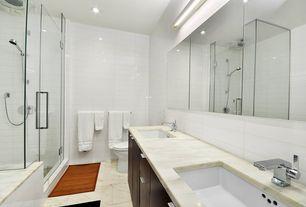 Modern Master Bathroom with Rain shower, European Cabinets, Undermount sink, frameless showerdoor, Flush, Handheld showerhead