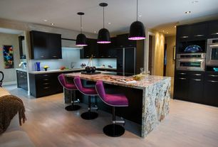 Contemporary Kitchen with Nuevo dome pendant hgml259, Ms international barricato granite, Laminate floors, Flush, L-shaped