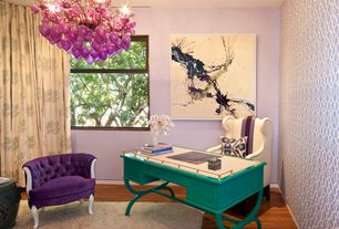 Eclectic Home Office with Chandelier, Kathy kuo home classic prosperity metallic black ceramic garden seat stool