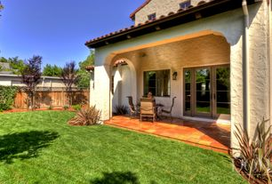 Mediterranean Porch with exterior tile floors, exterior terracotta tile floors, Fence, French doors, Screened porch