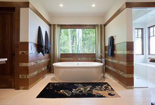 Contemporary Master Bathroom with Shower, Wall Tiles, Custom Frameless Shower, Freestanding, picture window, Casement, Paint