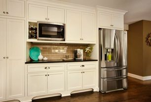 Contemporary Kitchen with Soapstone counters, One-wall, Whirlpool french door refrigerator, Standard height, Paint