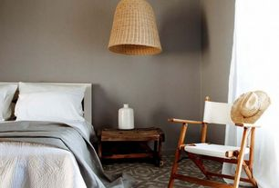 Contemporary Guest Bedroom with Pendant light, Carpet