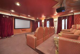 Traditional Home Theater with French doors, Carpet, Crown molding