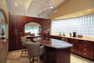 Modern Kitchen with Vinyl floors, West Elm Saddle Counter Stool, Kitchen island, U-shaped, Flush, European Cabinets