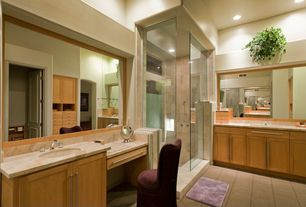 Modern Master Bathroom with Paint 1, Shower, Custom Glass Shower Enclosure, Framed Partial Panel, can lights, specialty door